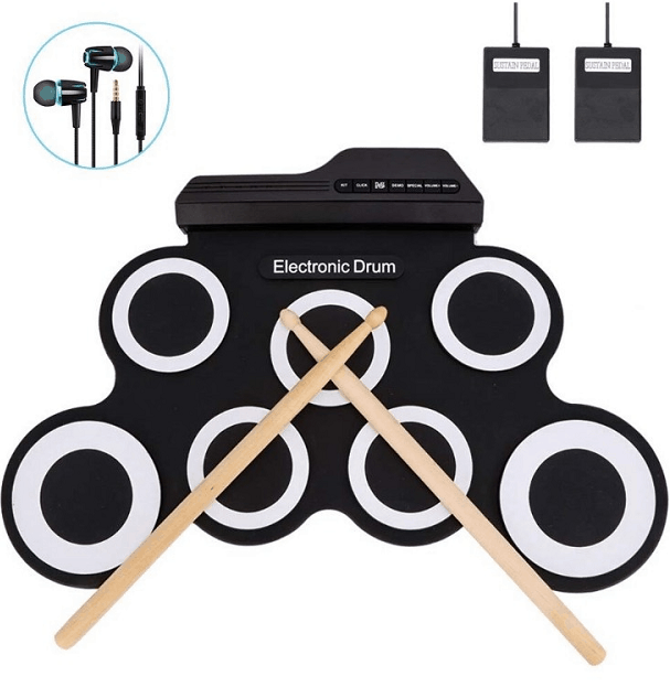 Jacksoo Portable Roll Up Drum, Electronic Digital Drum Pad Kit